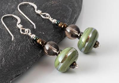 Smoky Quartz Lampwork Earrings