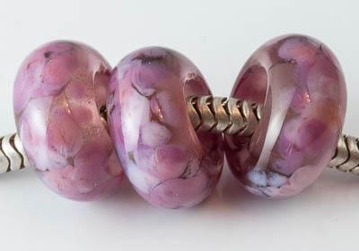 Pink Lampwork Charm Beads