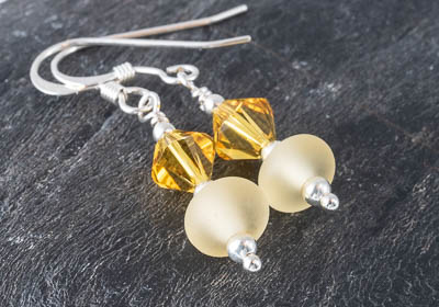 Yellow Lampwork Earrings