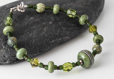 Olive Green Lampwork Bracelet