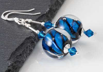 Blue Twisty Lampwork Earrings