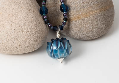 Dahlia Lampwork Pendant Necklace