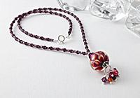Orange / Amethyst Dahlia Pendent Necklace