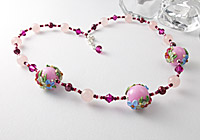 Pink Flower Lampwork Necklace