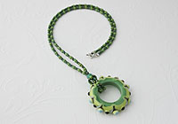 Green Lampwork Pendant Necklace