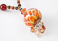 Coral Dahlia Lampwork Necklace