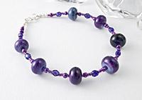 Purple Rose Lampwork Bracelet