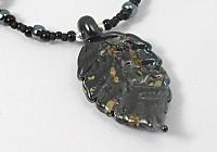 Black Lampwork Leaf Necklace