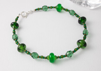 Dark Green Lampwork Bracelet