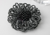 Black and Grey Flower Brooch