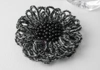 Black and Grey Flower Brooch