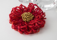 Red-Orange Flower Brooch