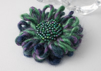Green and Purple Flower Brooch