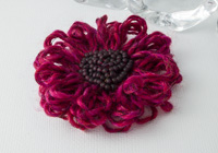 Dark Pink Flower Brooch
