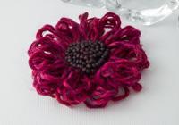Dark Pink Flower Brooch