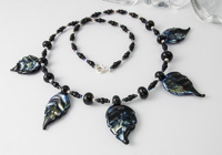 "Lampwork Leaf Necklace - ""Evening"""