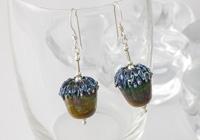 Lampwork Acorn Earrings