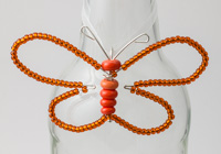 Orange Beaded Butterfly Decoration