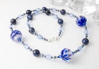 Blue Dahlia Lampwork Necklace