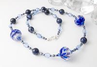 Blue Dahlia Lampwork Necklace