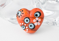 Orange Heart Lampwork Bead