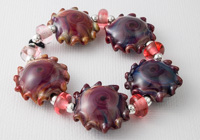 Fire Lotus Wave Lampwork Beads