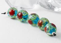 Turquoise Lampwork Flower Beads