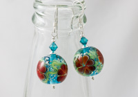 Red Glittery Flower Bead Earrings