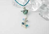 "Lampwork Necklace ""Blue Bird"""
