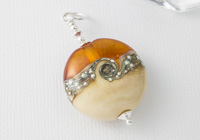 Amber and Ivory Lampwork Pendant