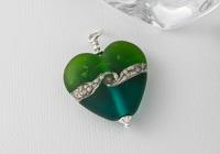 Green and Teal Lampwork Pendant
