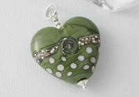 Olive Green Heart Lampwork Pendant