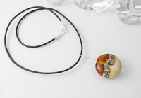 Amber and Ivory Lampwork Pendant alternative view 1