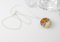 Amber and Ivory Lampwork Pendant alternative view 2