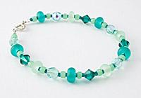 Green Tumbled Lampwork Bracelet