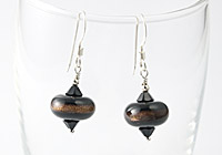 Black and Goldstone Lampwork Earrings