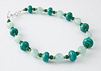 Amazonite and Lampwork Bead Bracelet