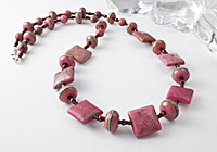 Rhodonite and Lampwork Necklace alternative view 1