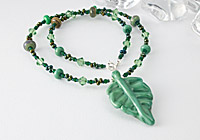 Lampwork Leaf Pendant Necklace alternative view 1