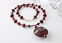 """Lampwork Necklace """"Rose Red"""""""