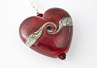 Red Lampwork heart Pendant Necklace