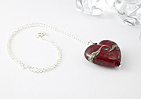 Red Lampwork heart Pendant Necklace alternative view 1