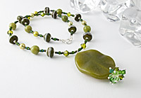 Nephrite and Lampwork Pendant Necklace