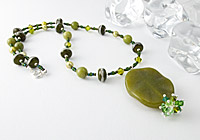 Nephrite and Lampwork Pendant Necklace alternative view 2