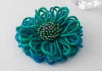 Green and Blue Beaded Flower Brooch
