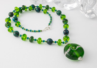 Spring Green Lampwork Necklace