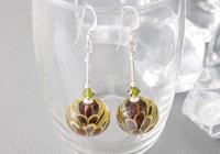 Olive Dahlia Lampwork Earrings