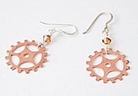 Copper Gear Earrings