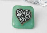 Fused Heart Brooch