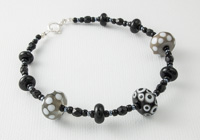 Black and Grey Lampwork Bracelet